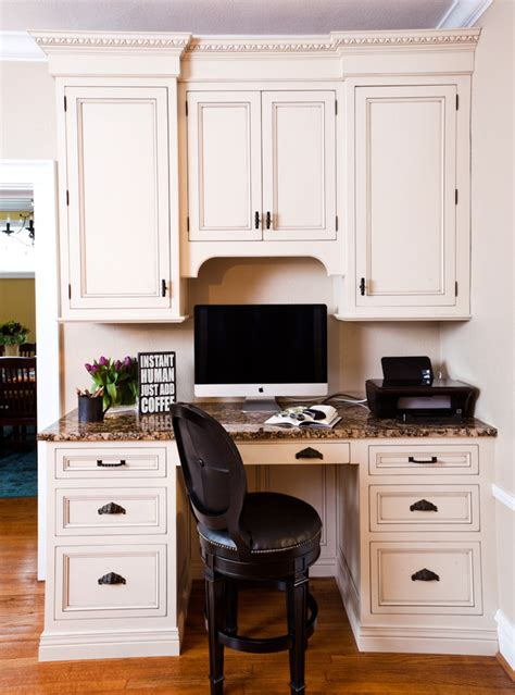 Using Kitchen Cabinets For Home Office by Kitchen Desk Cabinet Home Office Traditional With Arch