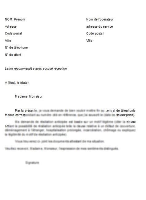 Lettre De Rã Siliation Mobile Modele Resiliation Abonnement Sfr Document