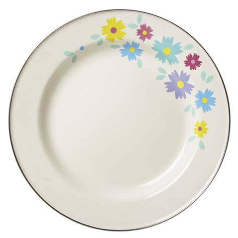 Floral Plate enamel dinner plate with floral design by with new