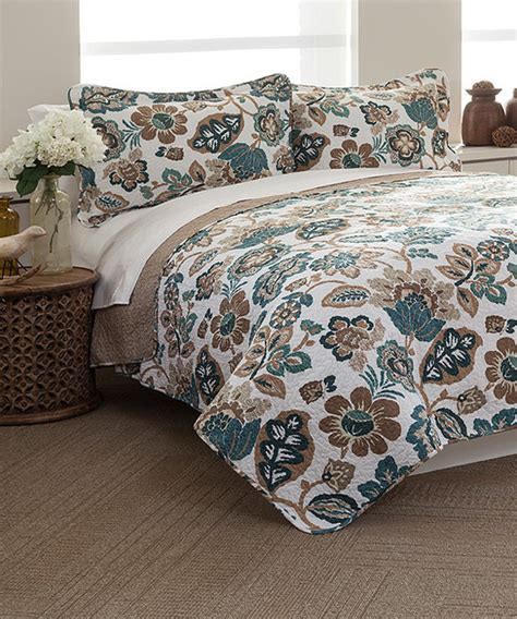Blue Quilts And Bedspreads Taupe Blue Moorea Quilt Bedding Set Modern Bedding