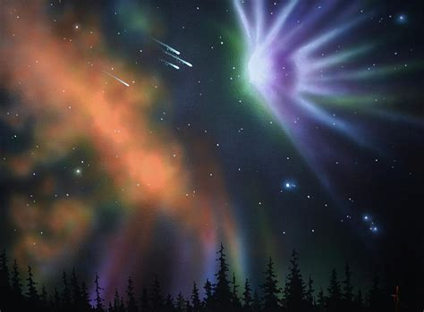 Thomas Wall Mural aurora borealis with 4 shooting stars painting by thomas
