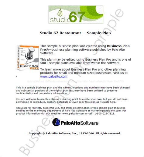 restaurant business plan template 7 free pdf word