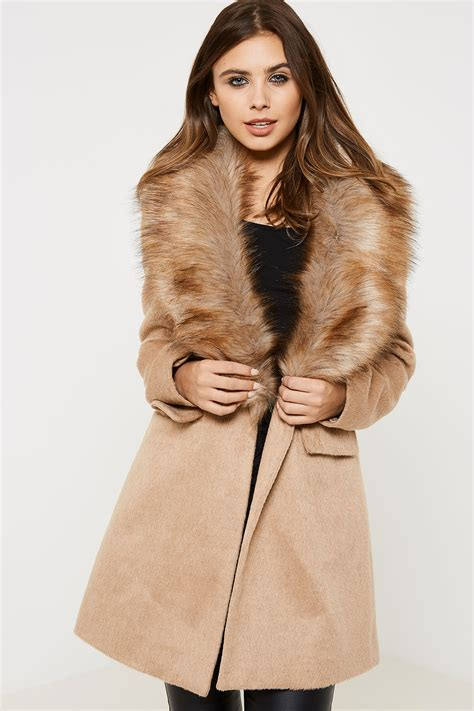 coat cassual wanita stives fashion union st ives faux fur collar coat ebay