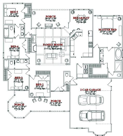 34 best 5 bedroom house plans images on house - 2 Schlafzimmer Haus Blueprints