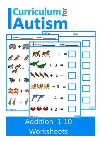 special education worksheets addition 1 10 worksheets autism special education by uk teaching resources tes