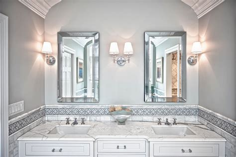 Kitchen Tile Designs For Backsplash Transitional White Master Bath Transitional Bathroom