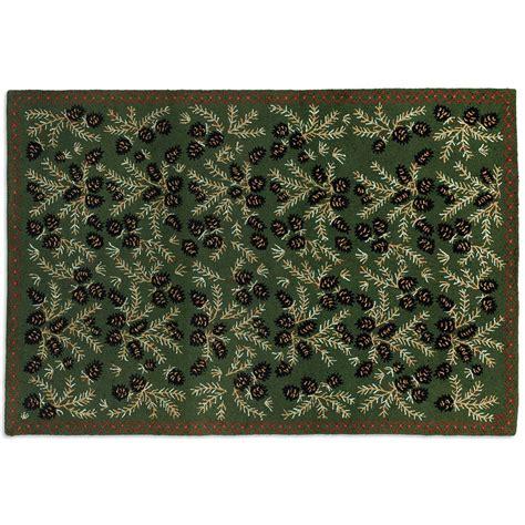 pine hooked wool rug 6 x 9