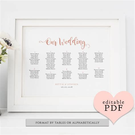 Wedding Table Plan Pdf Templates Seating Charts Bettie 6 Sizes Including 18x24 24x36 A1 Wedding Pdf Templates
