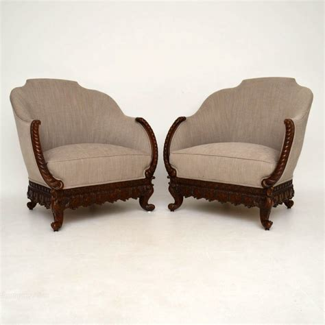 antique wooden armchairs pair of antique swedish carved mahogany armchairs