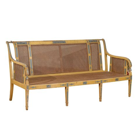 cane settee louis xvi cane and painted settee at 1stdibs