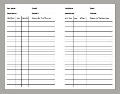 pet health record template pet care records d i y planner