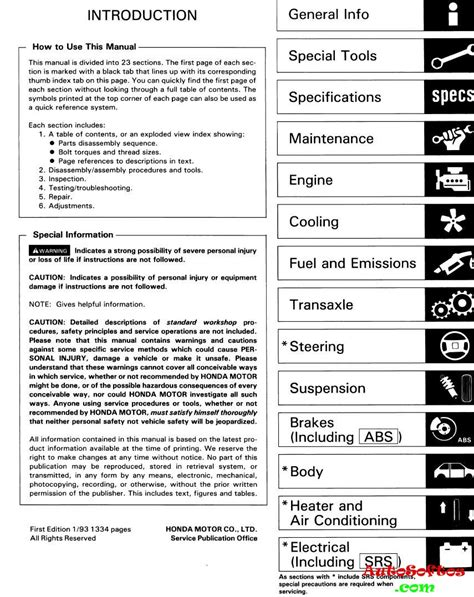 Honda Accord 1993 1996 Cc7 англичанка Service Manual