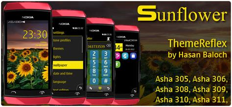 best themes for nokia asha 310 sunflower theme for nokia asha 305 asha 306 asha 308