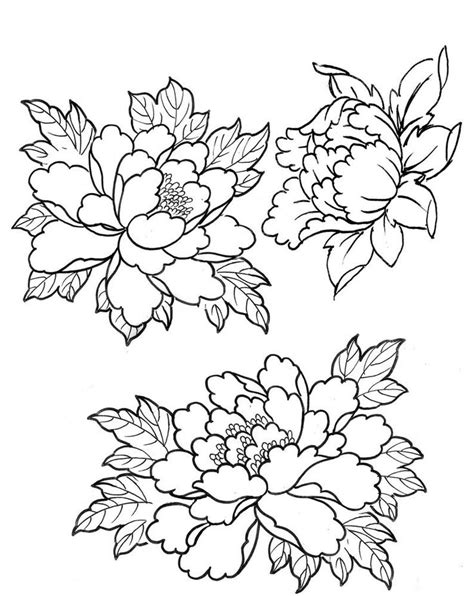 Easy To Draw Japanese Flowers by 33 Amazing Peony Outline Tattoos