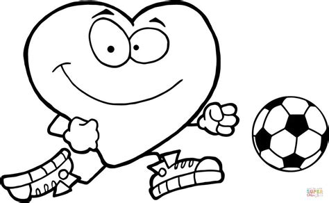 red heart coloring page healthy red heart with a soccer ball coloring page free