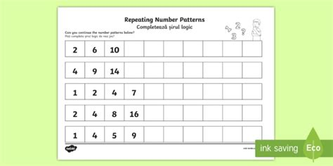 patterns in nature twinkl numbers repeating pattern activity sheet english romanian