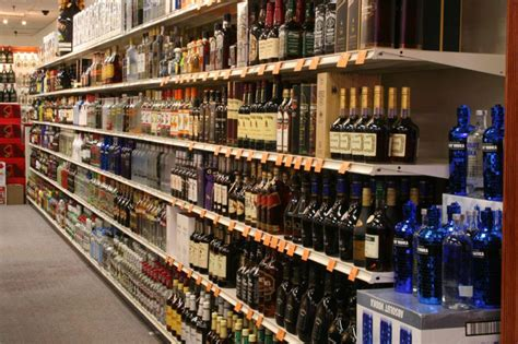 liquor store displays and shelving units