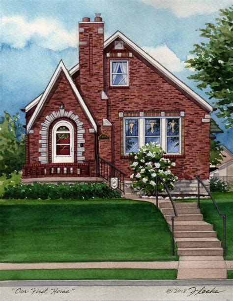 St S Home by Watercolor Custom House Portrait Of Brick Tudor In St