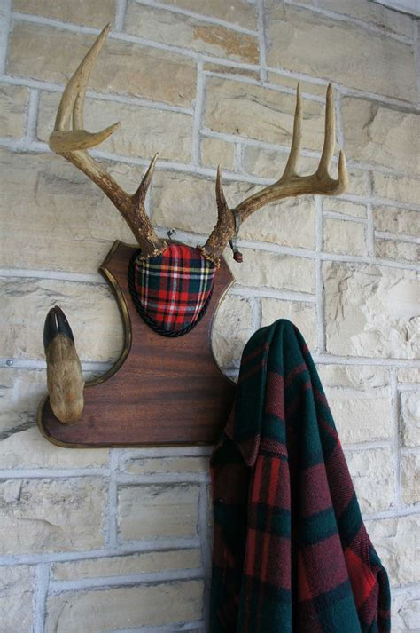 deer antlers and plaid for christmas vintage deer antler mount coat hat hook plaid woodland decor unique taxidermy 1951