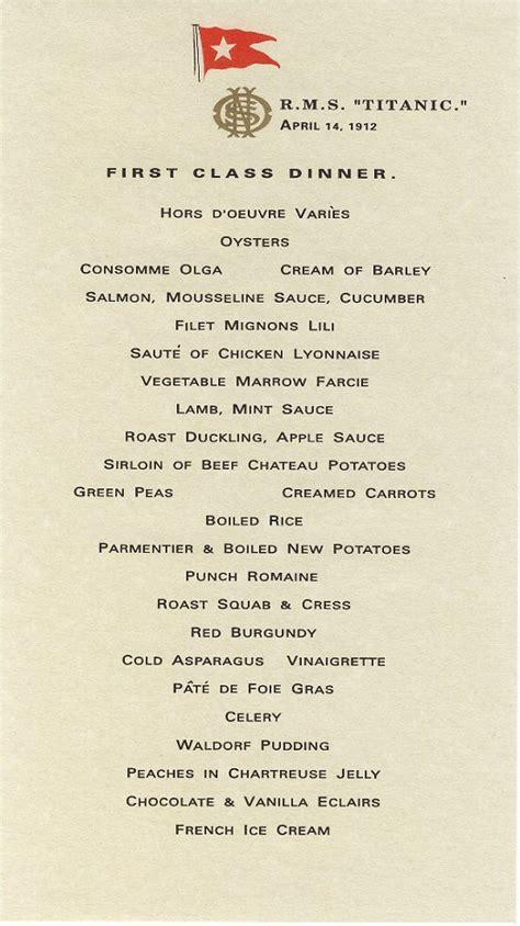 titanic breakfast menu r m s titanic menus book of days tales