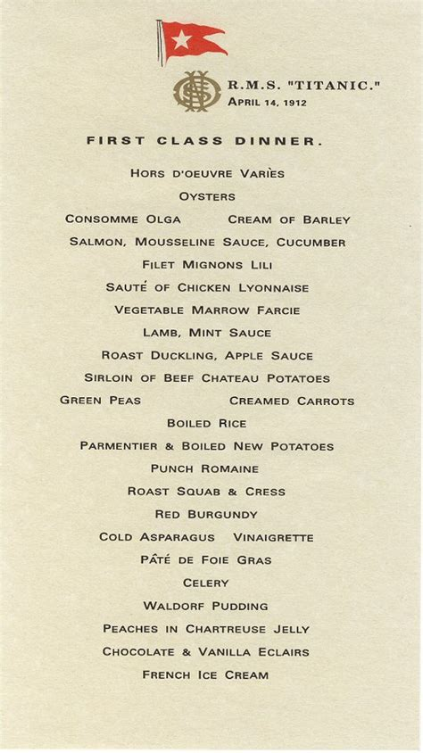 titanic first class menu r m s titanic menus book of days tales