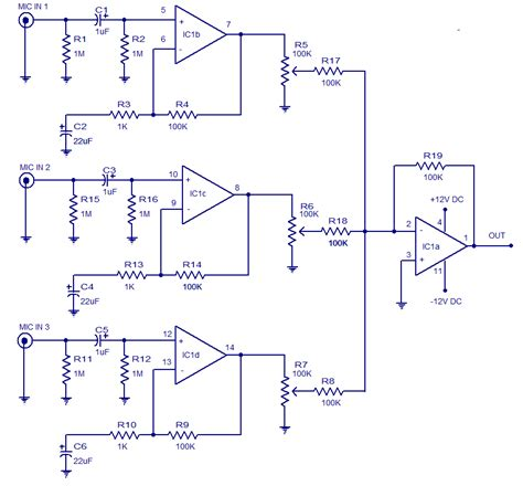 circuit diagrams for 3 input microphone prelifier electronic circuits and