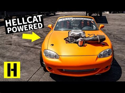 guys finally crammed  hellcat engine   miata