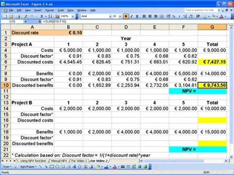 how to calculate net present value npv in excel 2003