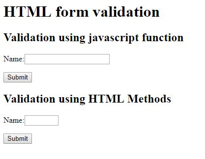 validate html form using javascript exle html form elements validation using javascript and dom