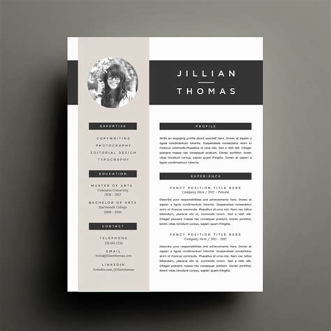 creative cv templates etsy creative resume template and cover letter template for word
