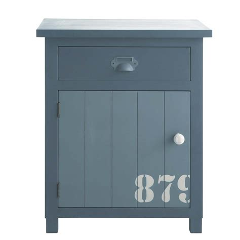 wooden bedside table with drawer in grey w 34cm cargo