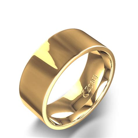 slightly flat 8mm wedding band in 14k yellow gold