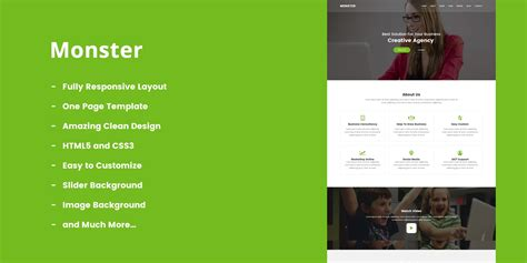 monster one page multipurpose html5 template business