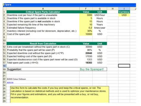 Lean Maintenance And Tpm Calculators Spare Parts List Excel Template