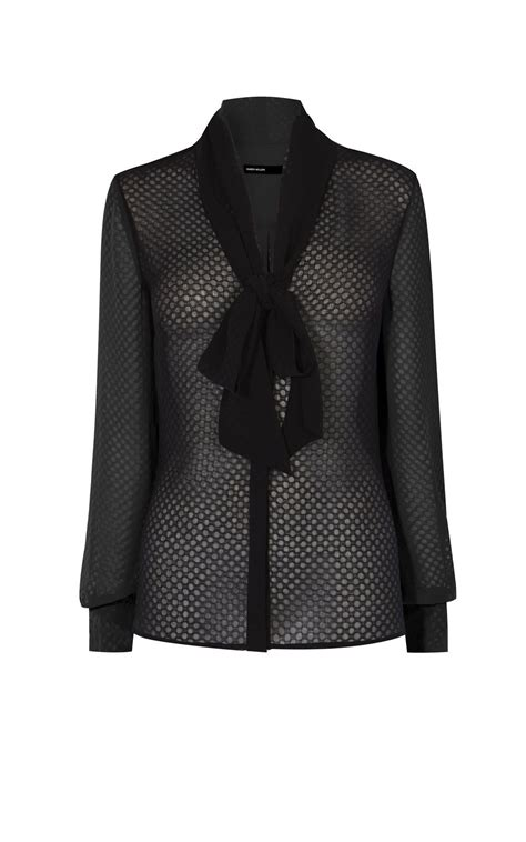 Sheer Black Blouse With Bow by Lyst Millen Sheer Spot Bow Blouse In Black