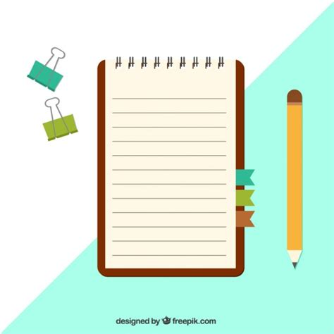 notepad pattern ai notebook with clips and pencil in flat design vector