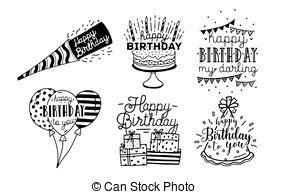 imagenes en blanco y negro de feliz cumpleaños letras vector design festive saludo ilustraci 243 n