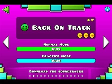 Geometry dash level 2 back on track all coins youtube