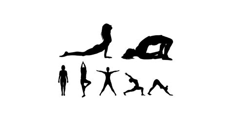 yoga man  woman silhouettes  vector  png