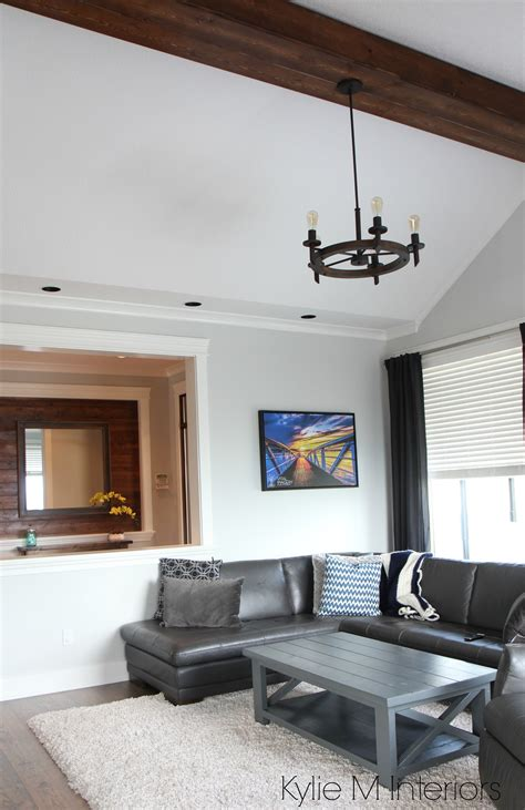 Ceiling Colours For Living Room Living Room With Vaulted Ceiling Faux Wood Beam Chandelier Gray Owl Paint Colour