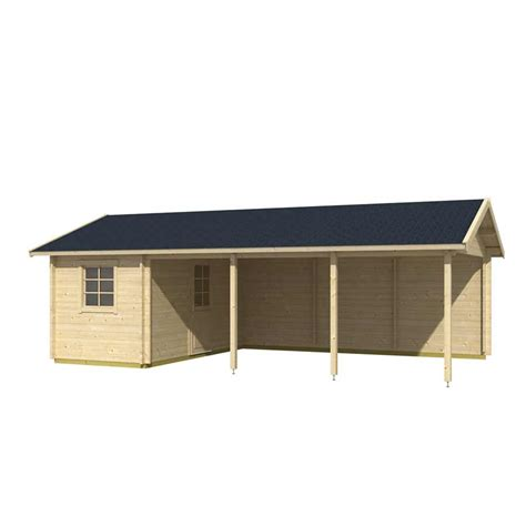 plus carport log cabin carport plus storage shed 7 7m x 4 3m