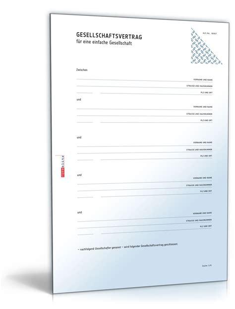 Muster Vertrag Schweiz Gbr Gesellschaftsvertrag Muster Vorlage Zum