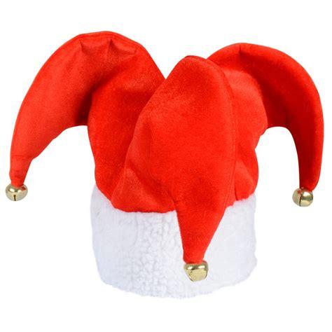red jester christmas xmas festive novelty hat with jingle