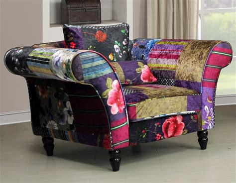 Patchwork Furniture Uk - new wave 1 seater luxury fabric patchwork sofa ebay