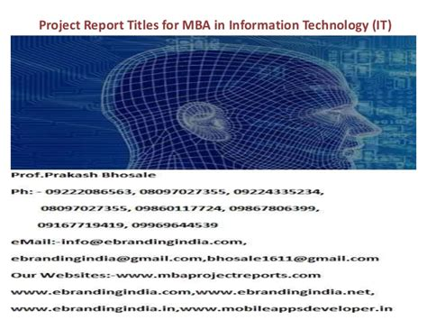 Mba In Information Technology It by Project Report Titles For Mba In Information Technology It