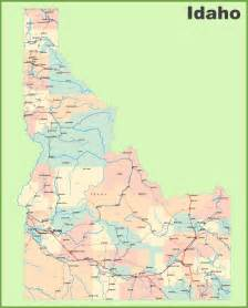map with all cities and towns road map of idaho with cities and towns