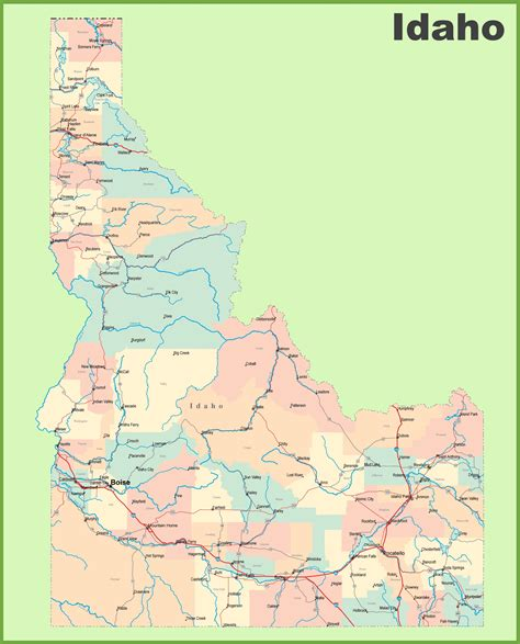 maps with towns road map of idaho with cities and towns