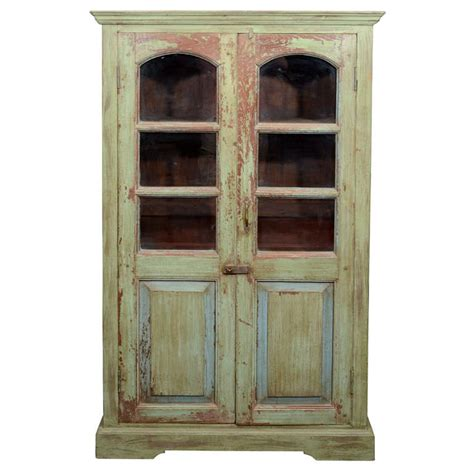 green armoire green painted armoire w glass windows at 1stdibs