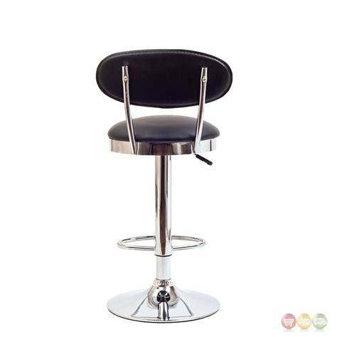chrome bar stools with back retro modern mid back vinyl bar stool w chrome base black