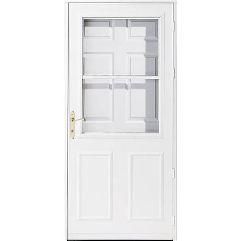 pella retractable screen door shop pella white high view storm door with retractable screen common 32 in x 81 in actual 31
